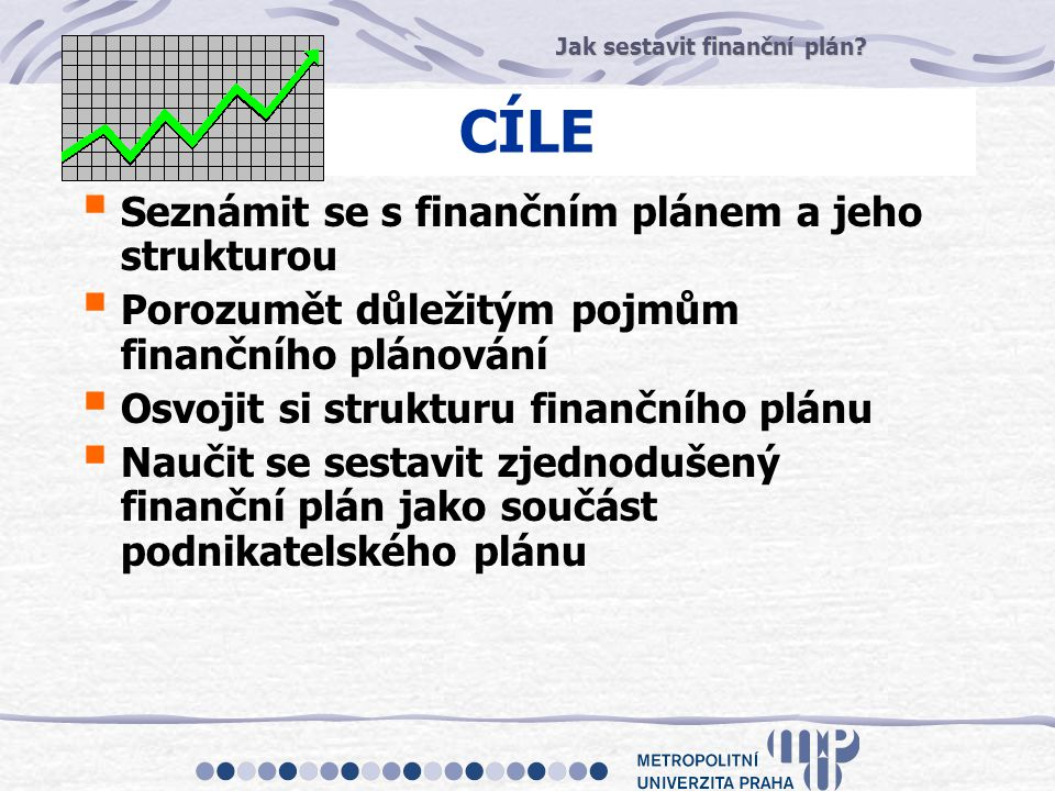 CÍLE Seznámit se s finančním plánem a jeho strukturou