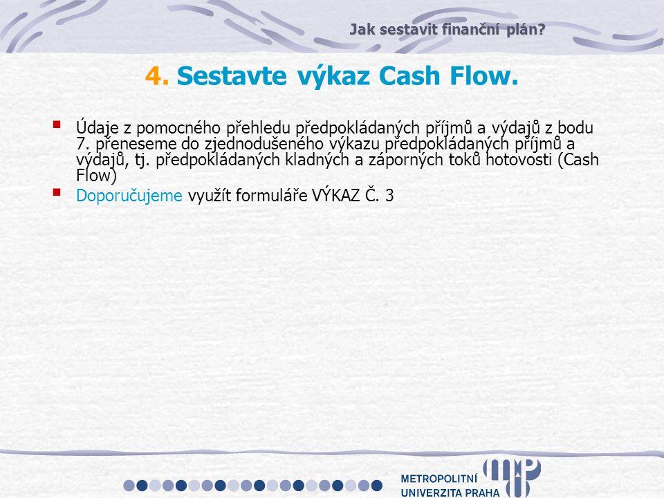 4. Sestavte výkaz Cash Flow.