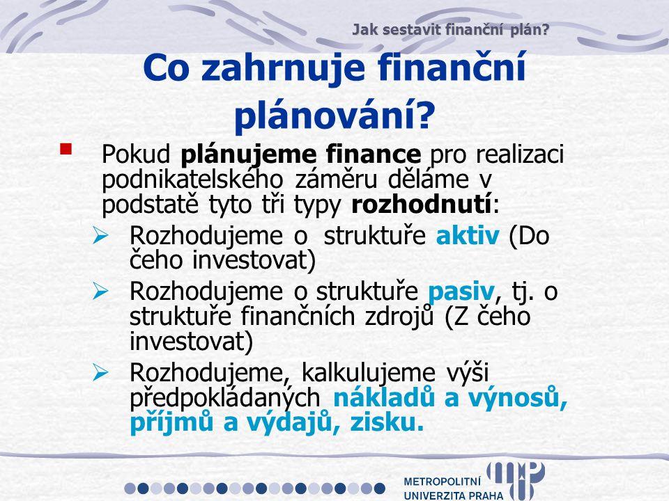 Co zahrnuje finanční plánování