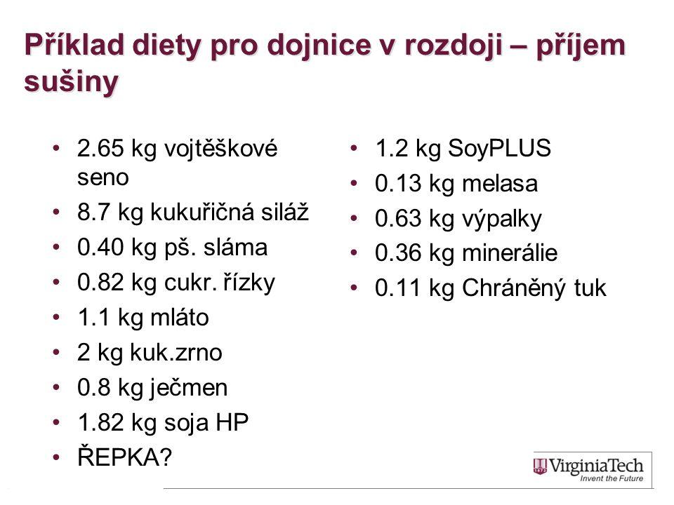 Příklad diety pro dojnice v rozdoji – příjem sušiny