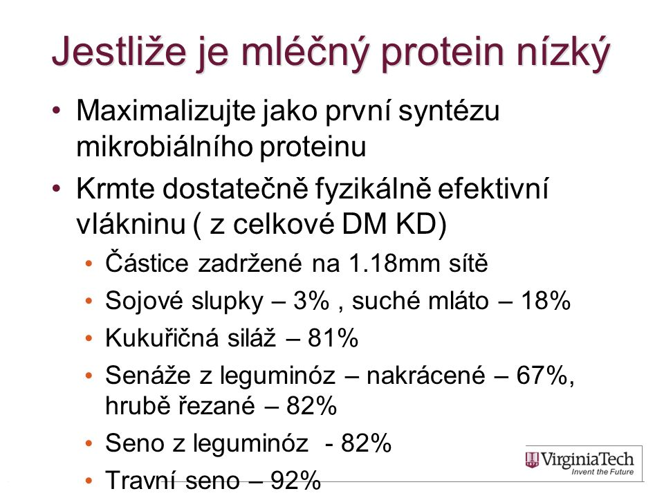 Jestliže je mléčný protein nízký