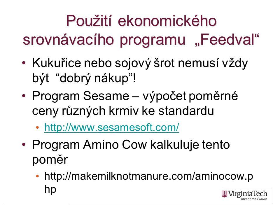 "Použití ekonomického srovnávacího programu ""Feedval"