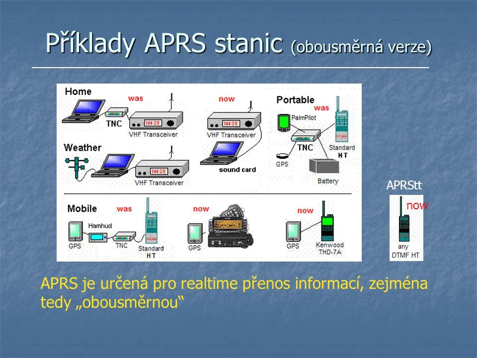 Příklady APRS stanic (obousměrná verze)