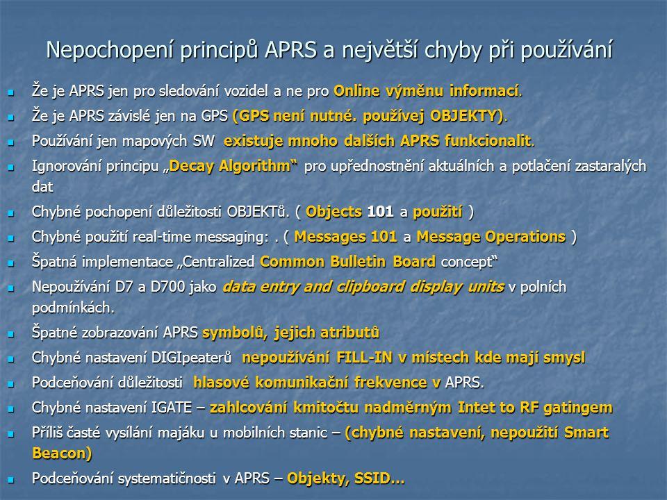 Nepochopení principů APRS a největší chyby při používání