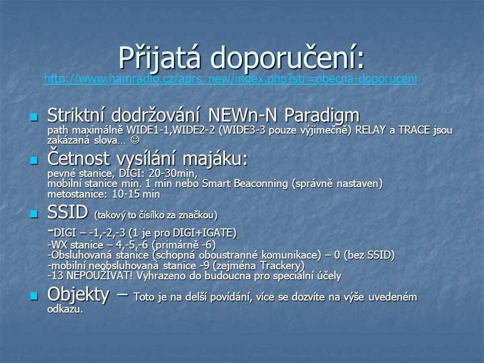 Přijatá doporučení: http://www.hamradio.cz/aprs_new/index.php str=obecna-doporuceni.