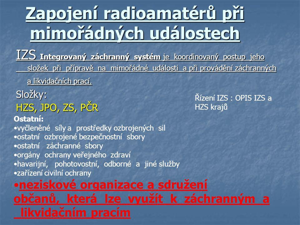 Zapojení radioamatérů při mimořádných událostech