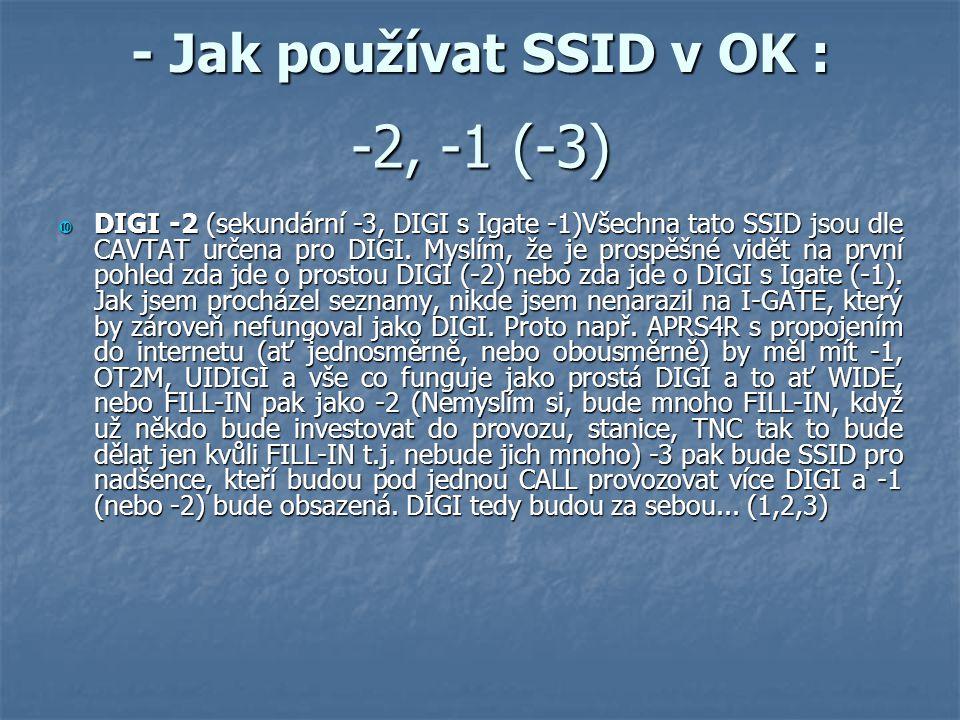 - Jak používat SSID v OK :