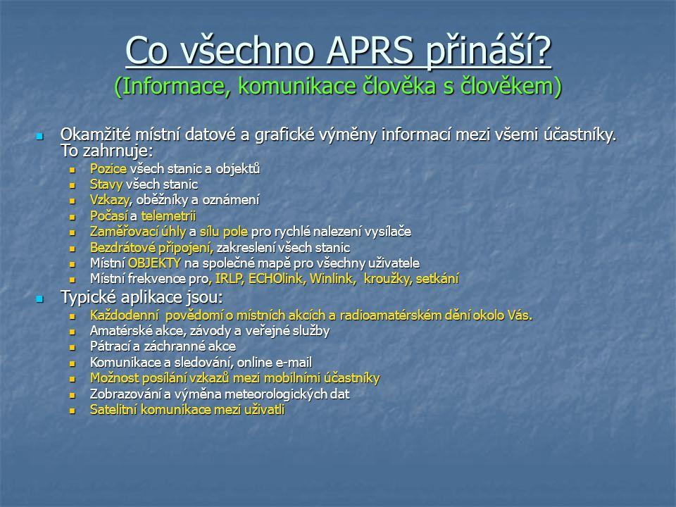 Co všechno APRS přináší (Informace, komunikace člověka s člověkem)