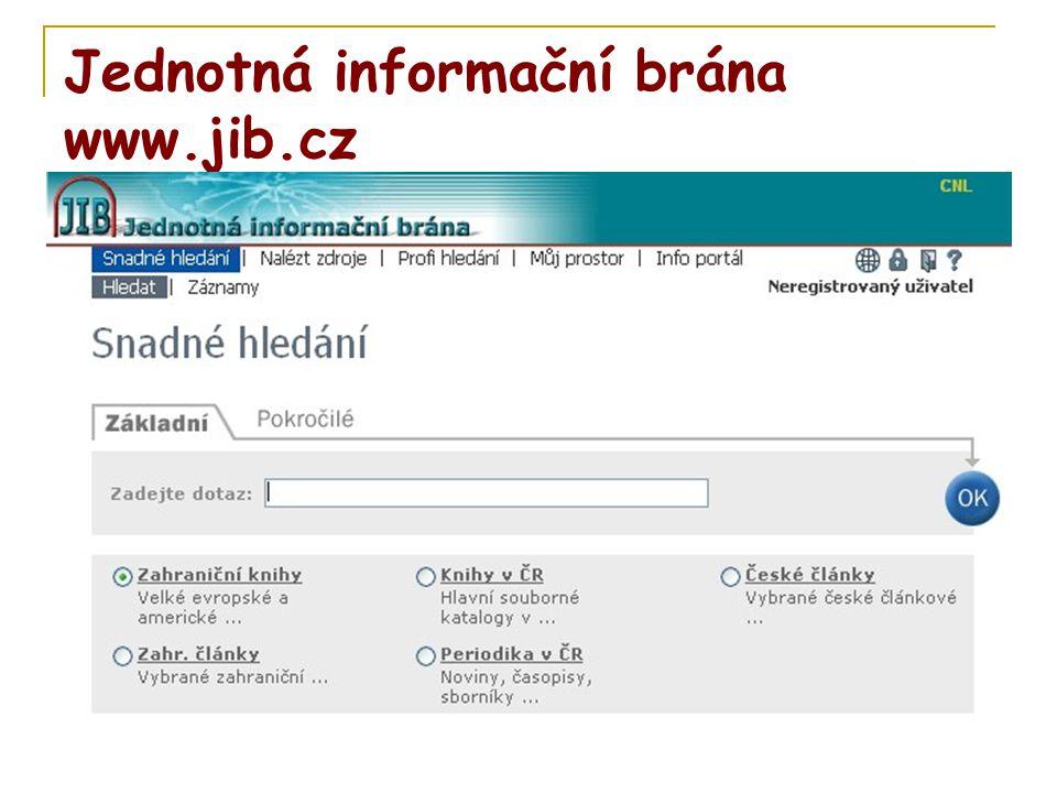 Jednotná informační brána www.jib.cz
