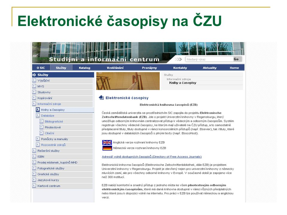 Elektronické časopisy na ČZU