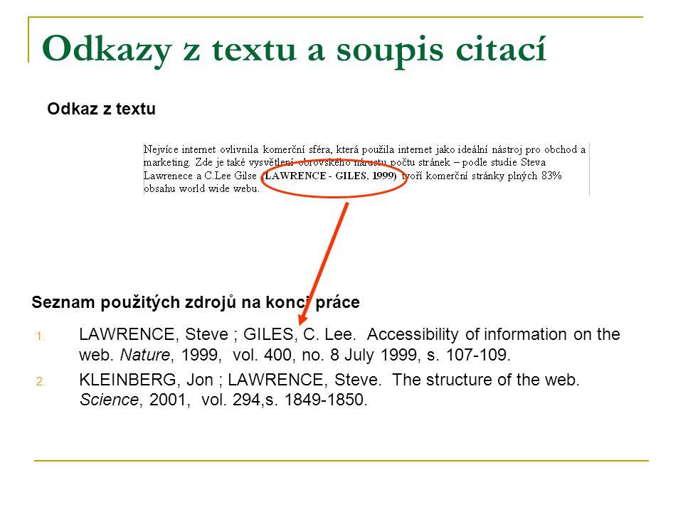 Odkazy z textu a soupis citací