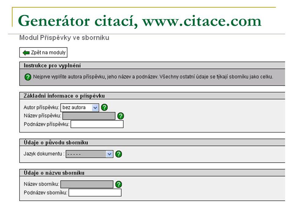 Generátor citací, www.citace.com