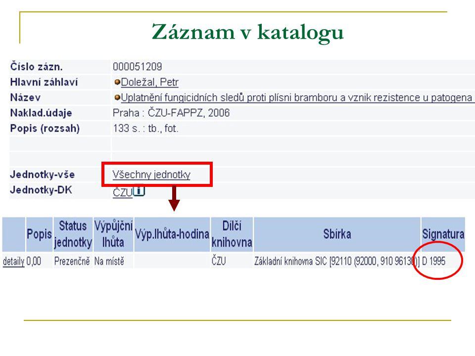 Záznam v katalogu