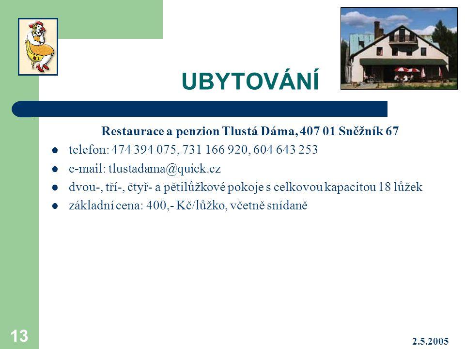 Restaurace a penzion Tlustá Dáma, 407 01 Sněžník 67