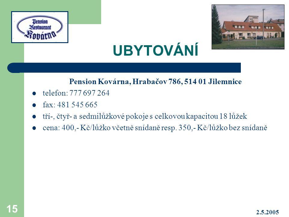 Pension Kovárna, Hrabačov 786, 514 01 Jilemnice