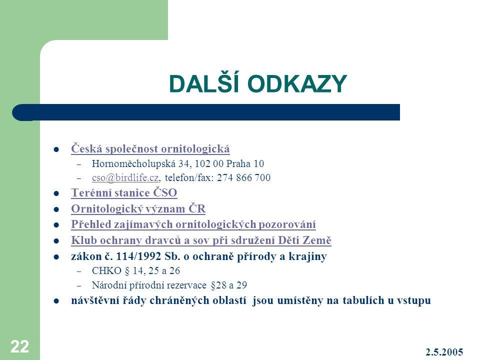 DALŠÍ ODKAZY Česká společnost ornitologická Terénní stanice ČSO