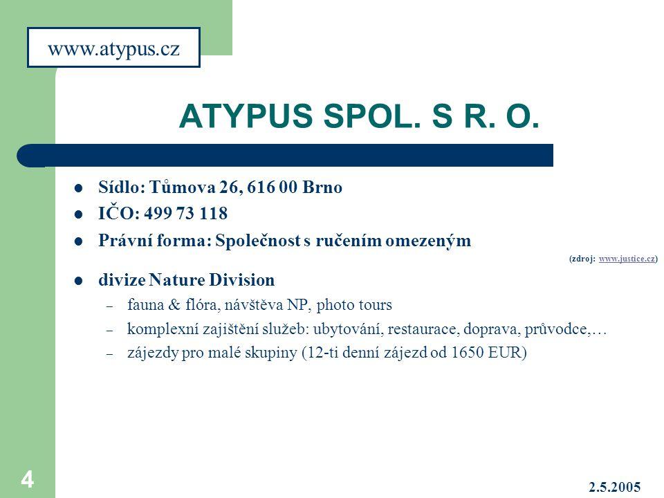 ATYPUS SPOL. S R. O. www.atypus.cz Sídlo: Tůmova 26, 616 00 Brno