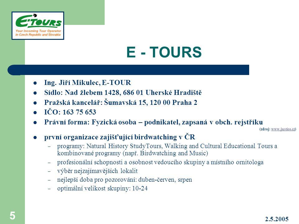 E - TOURS Ing. Jiří Mikulec, E-TOUR