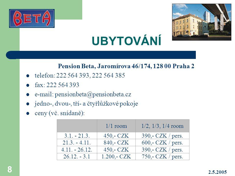 Pension Beta, Jaromírova 46/174, 128 00 Praha 2