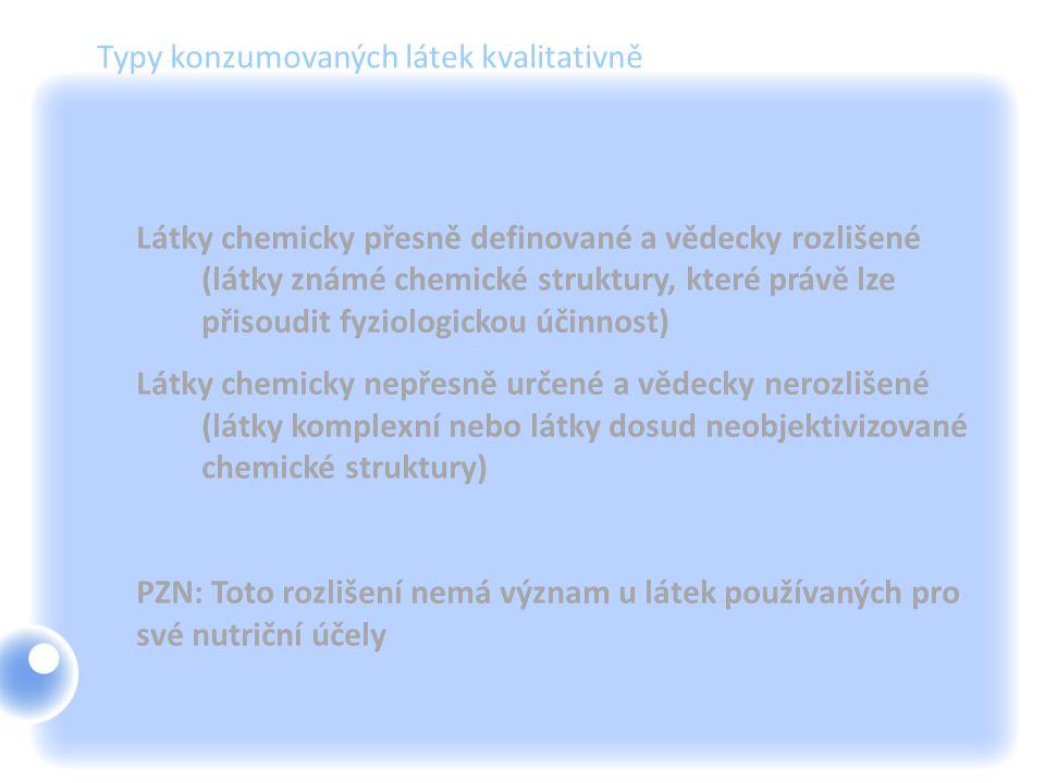 Typy konzumovaných látek kvalitativně