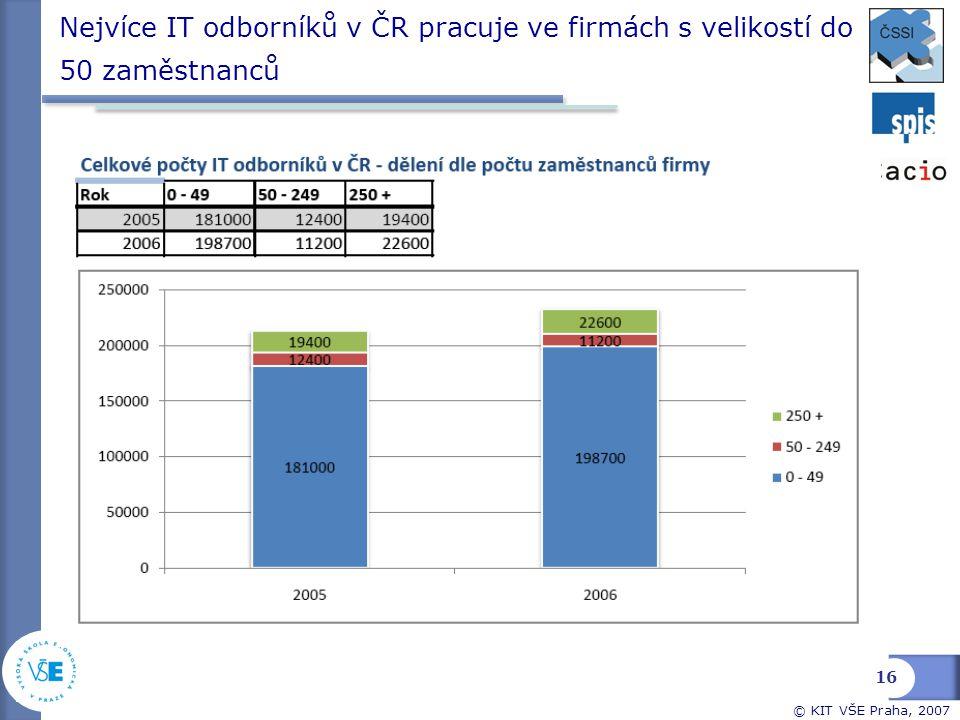 Nejvíce IT odborníků v ČR pracuje ve firmách s velikostí do 50 zaměstnanců