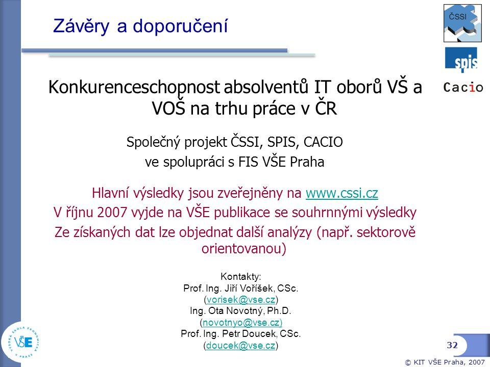 Závěry a doporučení Konkurenceschopnost absolventů IT oborů VŠ a VOŠ na trhu práce v ČR. Společný projekt ČSSI, SPIS, CACIO.