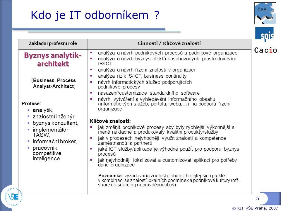 Kdo je IT odborníkem Byznys analytik- architekt analytik,