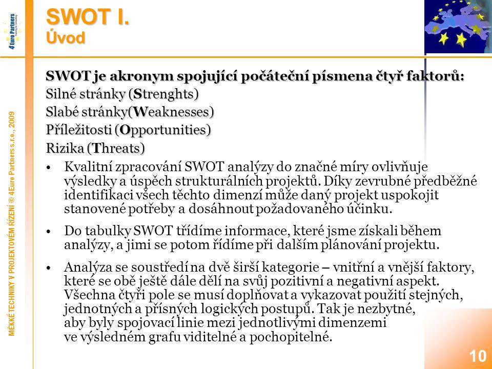 SWOT II. Faktory projektu/předkladatele (1)