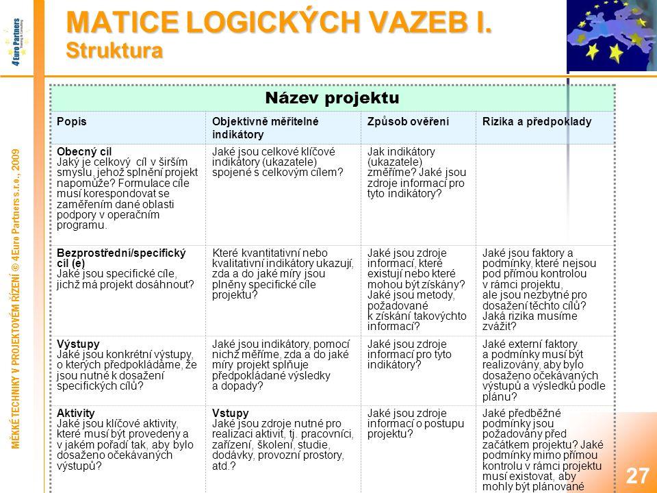 MATICE LOGICKÝCH VAZEB II. Názvy sloupců