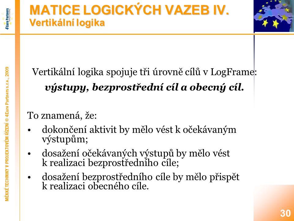 MATICE LOGICKÝCH VAZEB V. Horizontální logika