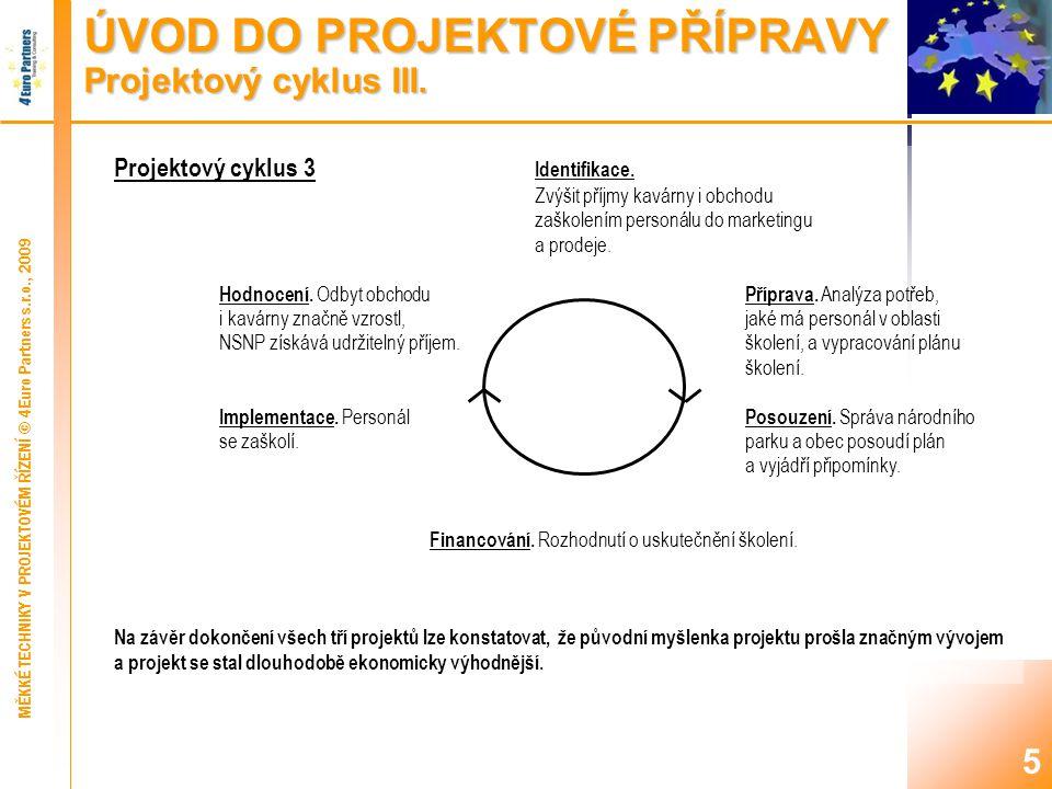 ÚVOD DO PROJEKTOVÉ PŘÍPRAVY Projektový cyklus IV.