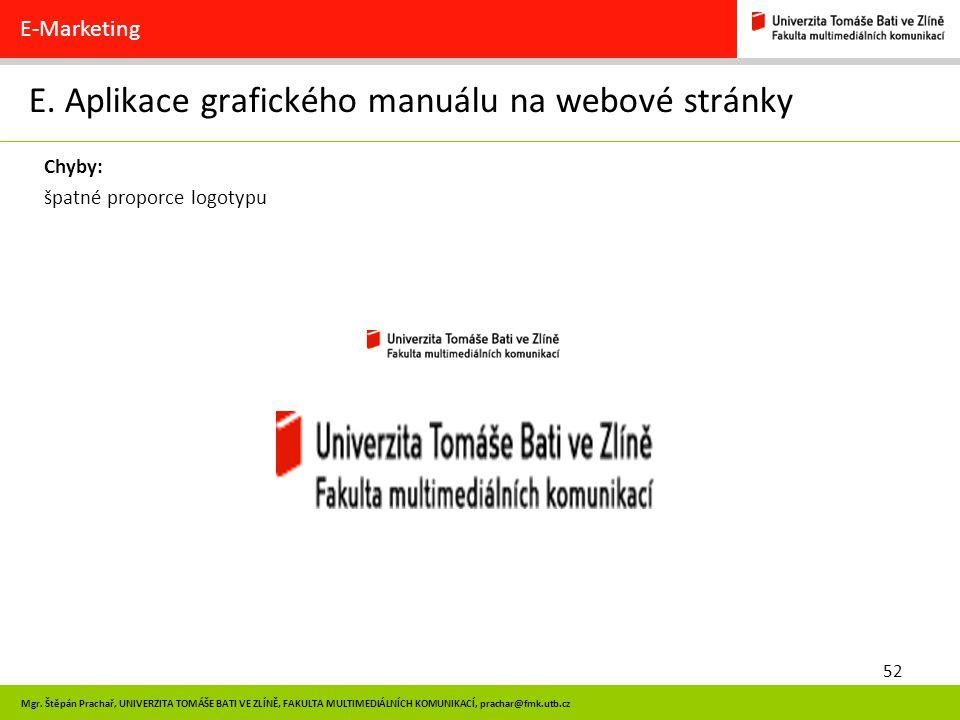 E. Aplikace grafického manuálu na webové stránky
