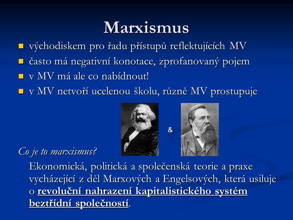 Marxismus východiskem pro řadu přístupů reflektujících MV