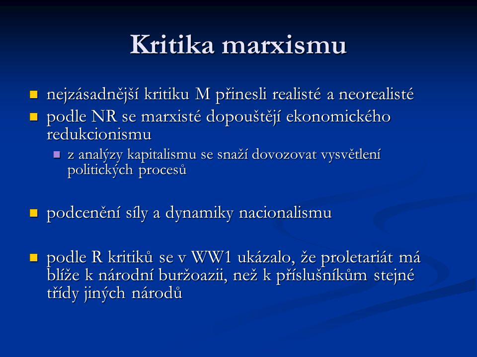 Kritika marxismu nejzásadnější kritiku M přinesli realisté a neorealisté. podle NR se marxisté dopouštějí ekonomického redukcionismu.