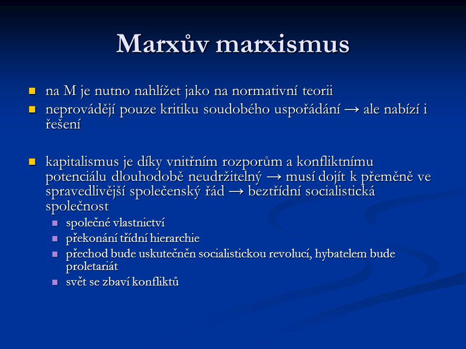 Marxův marxismus na M je nutno nahlížet jako na normativní teorii