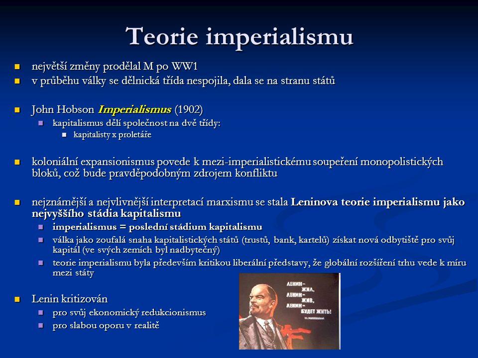 Teorie imperialismu největší změny prodělal M po WW1