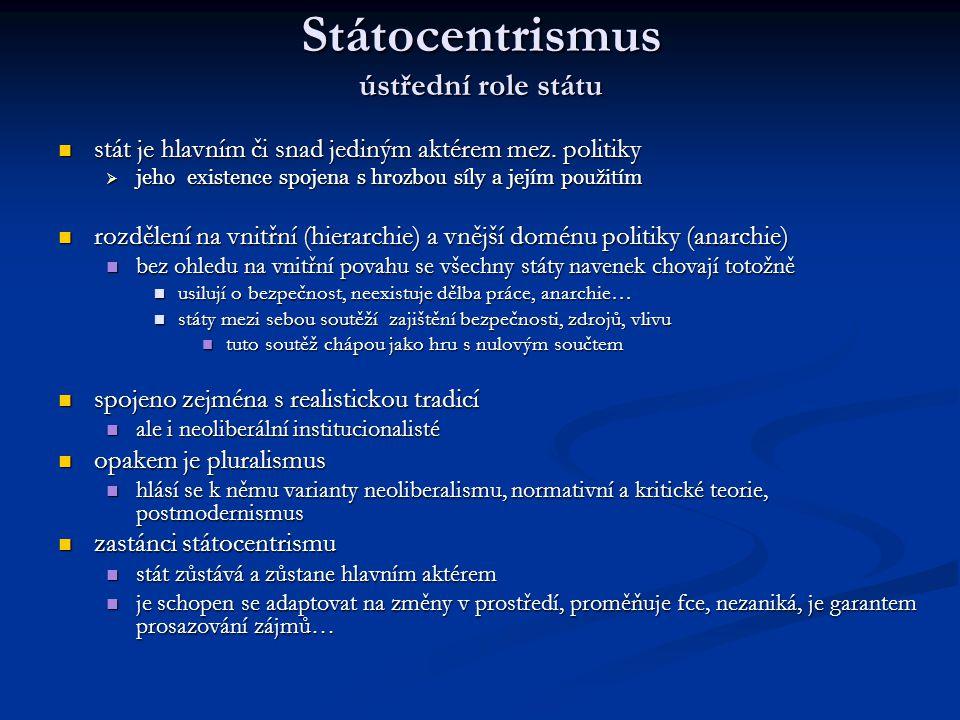 Státocentrismus ústřední role státu