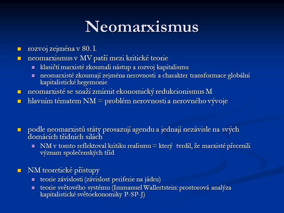 Neomarxismus rozvoj zejména v 80. l.