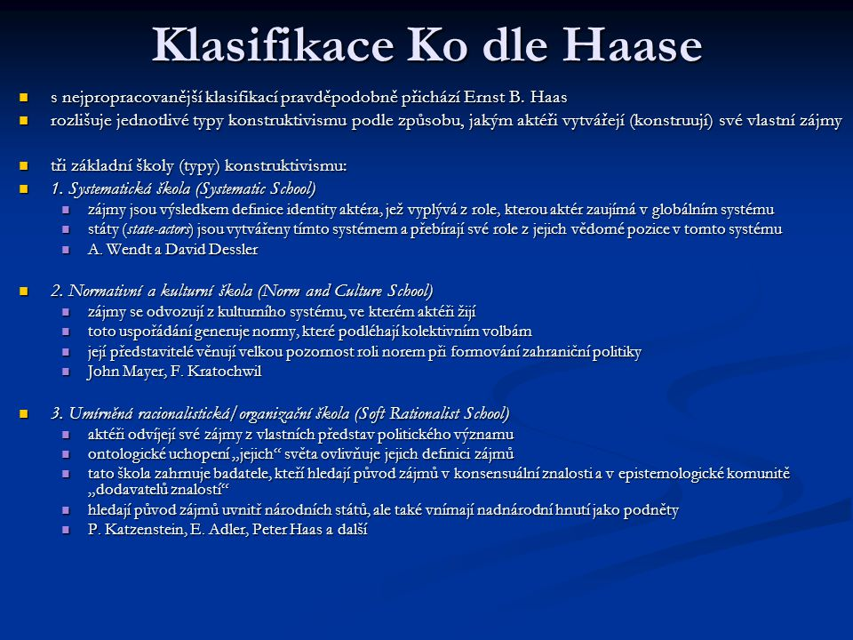 Klasifikace Ko dle Haase
