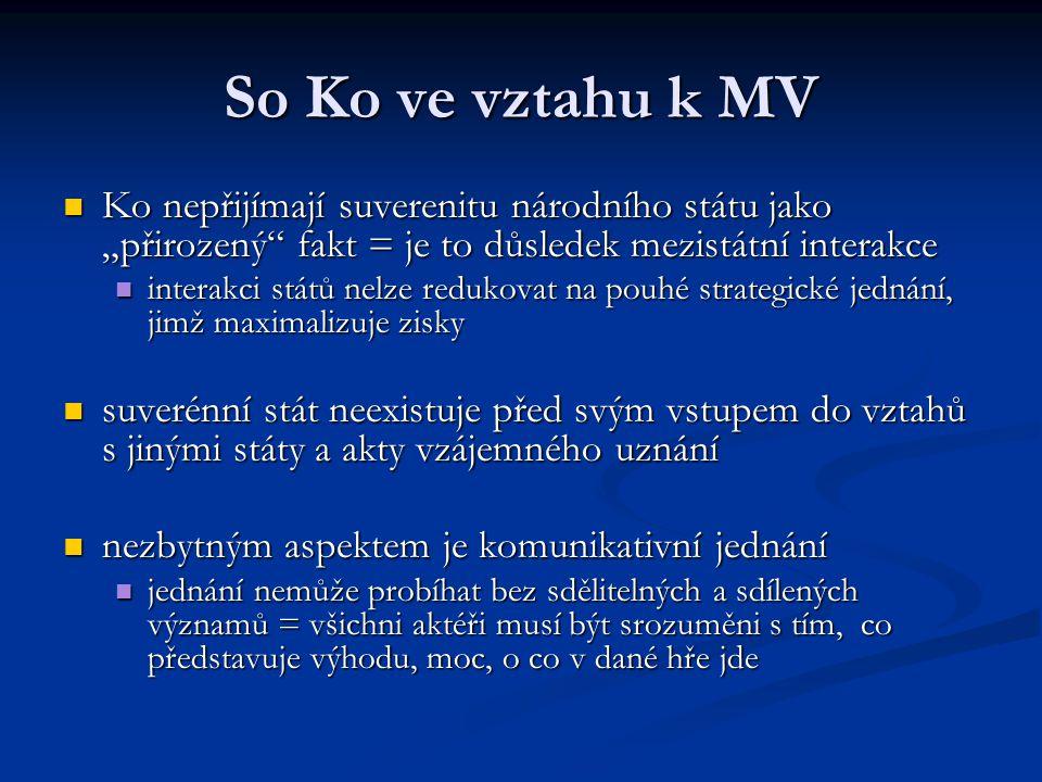 """So Ko ve vztahu k MV Ko nepřijímají suverenitu národního státu jako """"přirozený fakt = je to důsledek mezistátní interakce."""