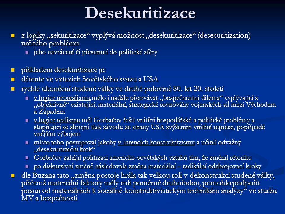 """Desekuritizace z logiky """"sekuritizace vyplývá možnost """"desekuritizace (desecuritization) určitého problému."""