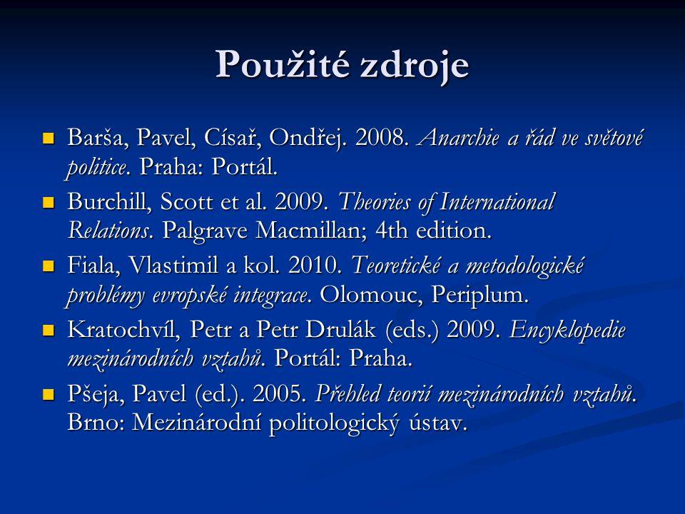 Použité zdroje Barša, Pavel, Císař, Ondřej. 2008. Anarchie a řád ve světové politice. Praha: Portál.