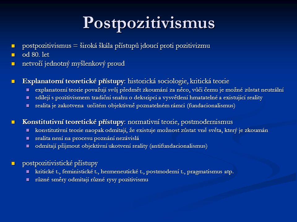 Postpozitivismus postpozitivismus = široká škála přístupů jdoucí proti pozitivizmu. od 80. let. netvoří jednotný myšlenkový proud.