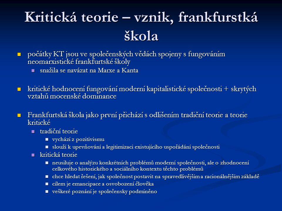 Kritická teorie – vznik, frankfurstká škola
