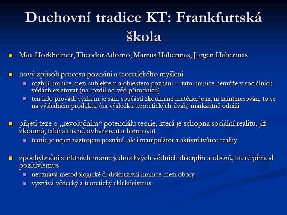 Duchovní tradice KT: Frankfurtská škola