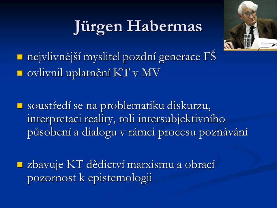 Jürgen Habermas nejvlivnější myslitel pozdní generace FŠ