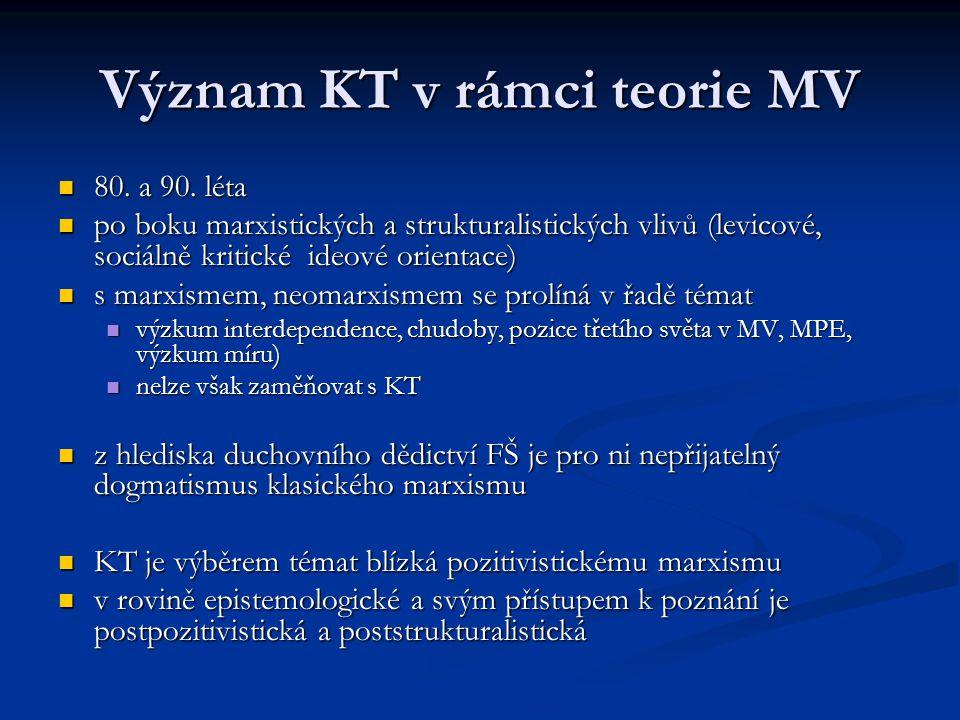 Význam KT v rámci teorie MV