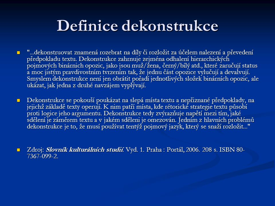 Definice dekonstrukce