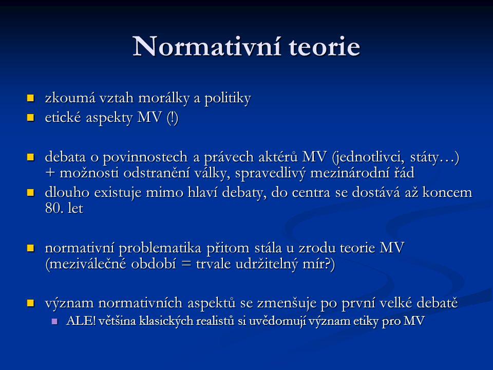 Normativní teorie zkoumá vztah morálky a politiky