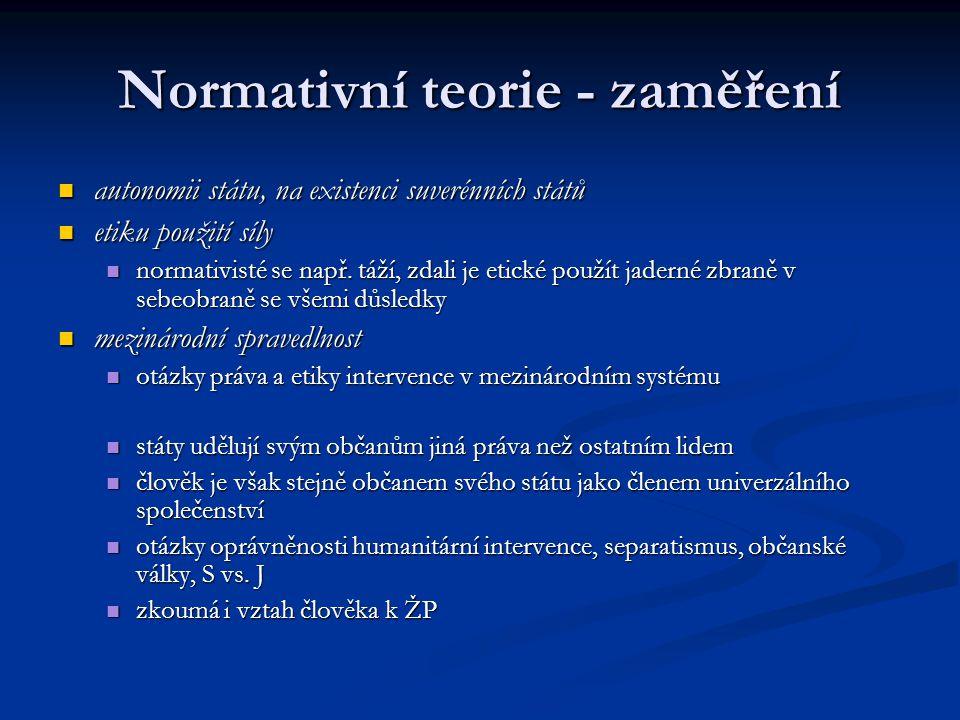 Normativní teorie - zaměření